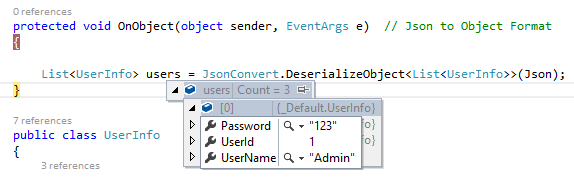 Convert object to JSON and JSON to object in C#