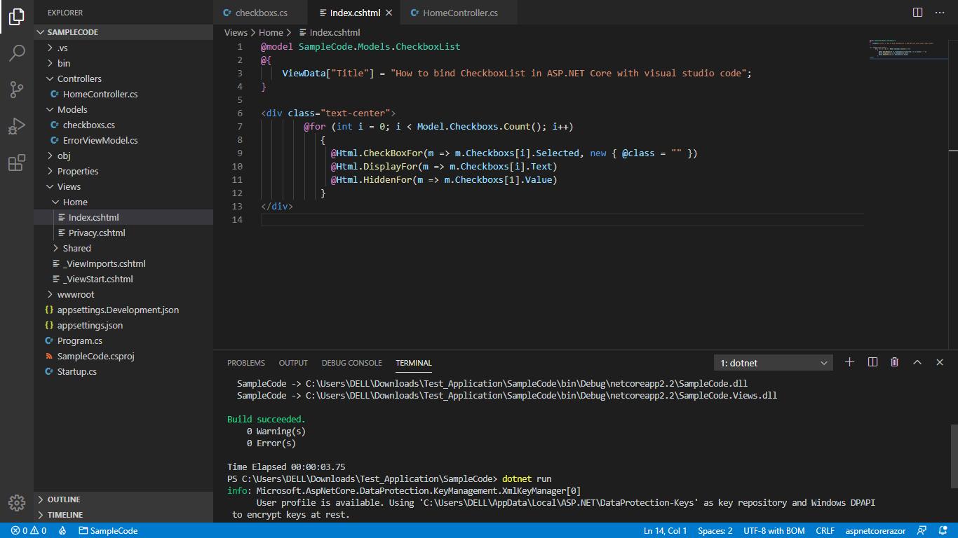 ASP.NET CORE MVC checkbox model binding