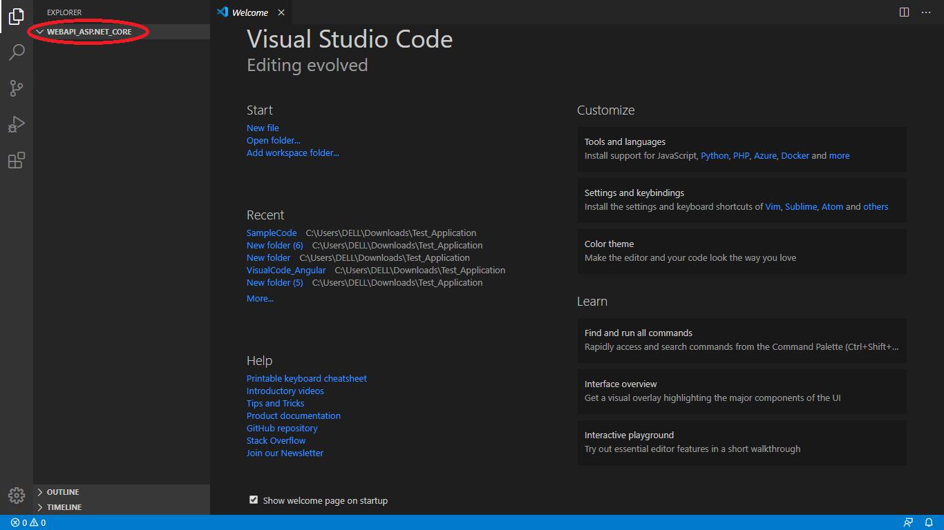 Create Web API with ASP.NET Core in Visual Studio Code.
